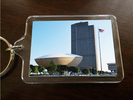 Acrylic Keychain – Empire State Plaza with Flag – Albany, NY – 2.375