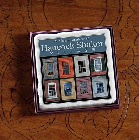"4"" Hancock Shaker Village Windows Marble Coaster"