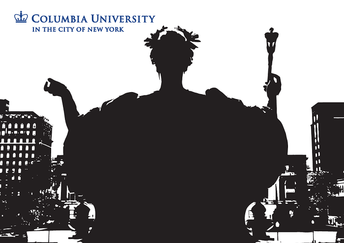 "5"" x 7"" Greeting Card - Columbia – Alma Mater B&W Lineart"