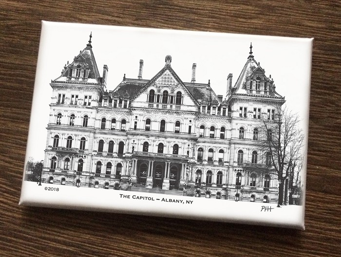 "Magnet – THE CAPITOL B&W – Albany, NY (HORIZONTAL) – 3"" wide x 2"" high"