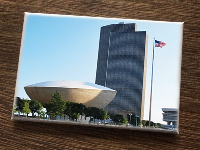 "Magnet – Empire State Plaza with Flag – Albany, NY (HORIZONTAL) – 3"" wide x 2"" high"