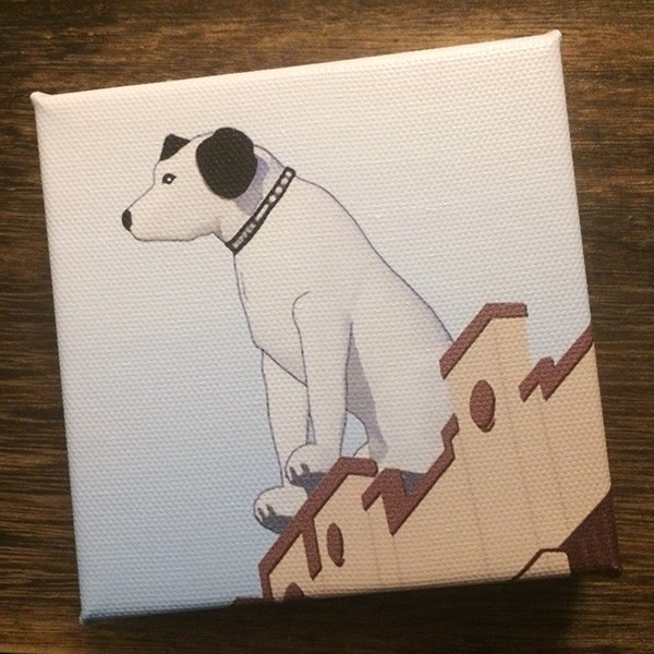 "4"" Original Canvas of NIPPER – Albany, NY –  4"" wide x 4"" high x 1"" deep"