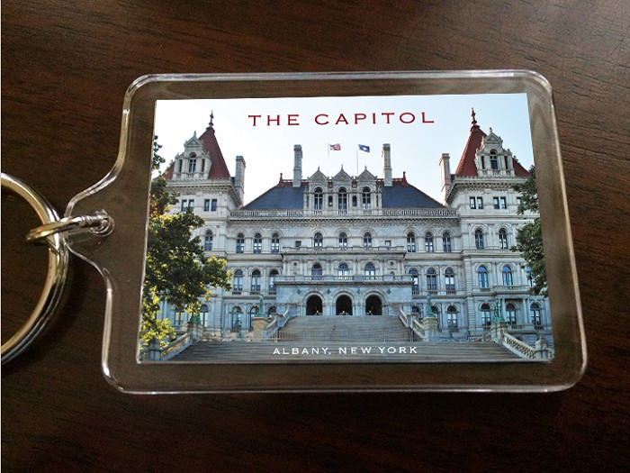 "Acrylic Keychain – THE CAPITOL East View – Albany, NY – 2.375"" wide x 1.75"" high"
