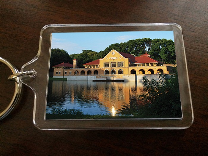 "Acrylic Keychain – The lakehouse of Washington Park – Albany, NY – 2.375"" wide x 1.75"" high"