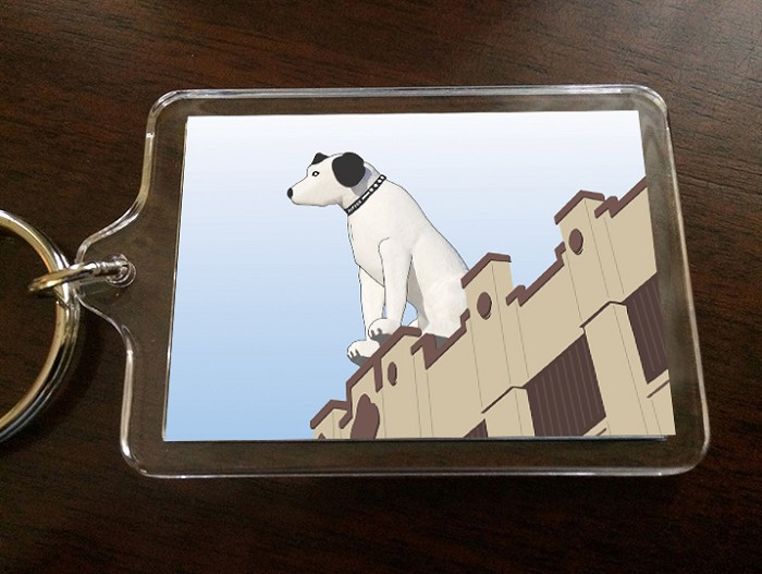 "Acrylic Keychain – NIPPER Lineart – Albany, NY – 2.375"" wide x 1.75"" high"