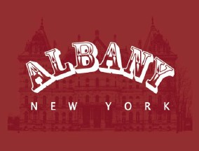 "16"" x 20"" Poster Print – Albany, NY Red & White Design (HORIZONTAL)"