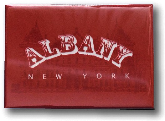 "Magnet – Albany, NY - Red & White Design (HORIZONTAL) – 3"" wide x 2"" high"