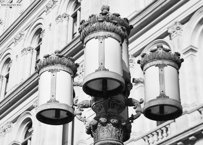 "16"" x 20"" B&W Poster Print – the lanterns of THE CAPITOL – Albany, NY (HORIZONTAL)"