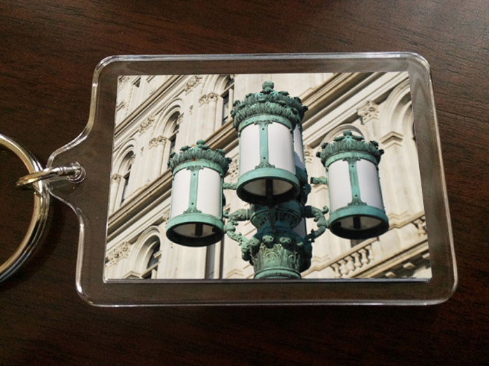 "Acrylic Keychain – the lanterns of THE CAPITOL (Color) – Albany, NY – 2.375"" wide x 1.75"" high"