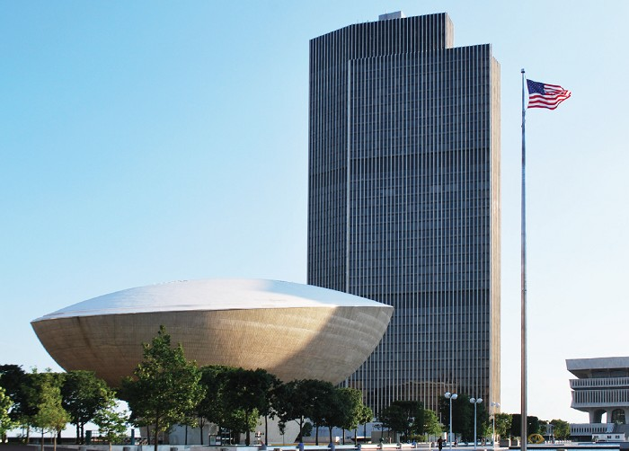 "5"" x 7"" Greeting Card - Empire State Plaza with Flag – Albany, NY  (HORIZONTAL)"