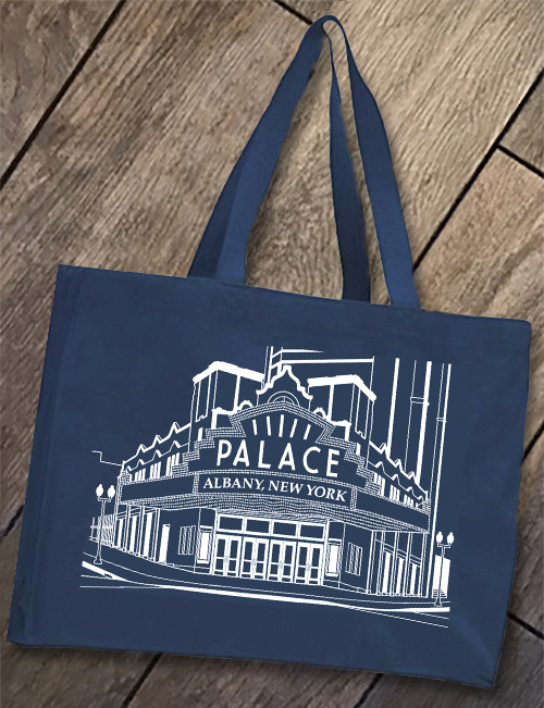 PALACE THEATRE - White Lineart on Navy Blue Tote Bag