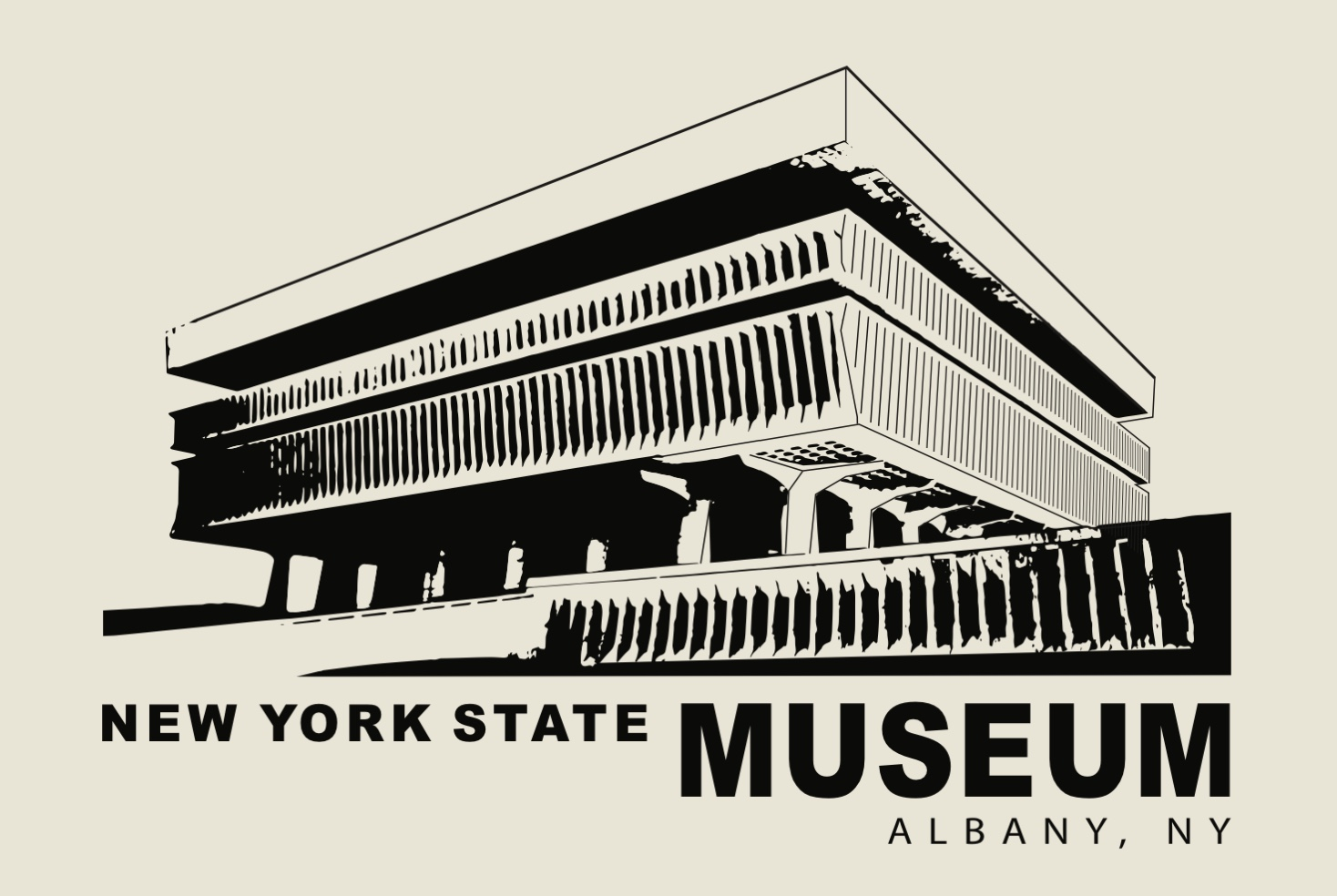 NYS MUSEUM – Black Lineart on Beige Poster