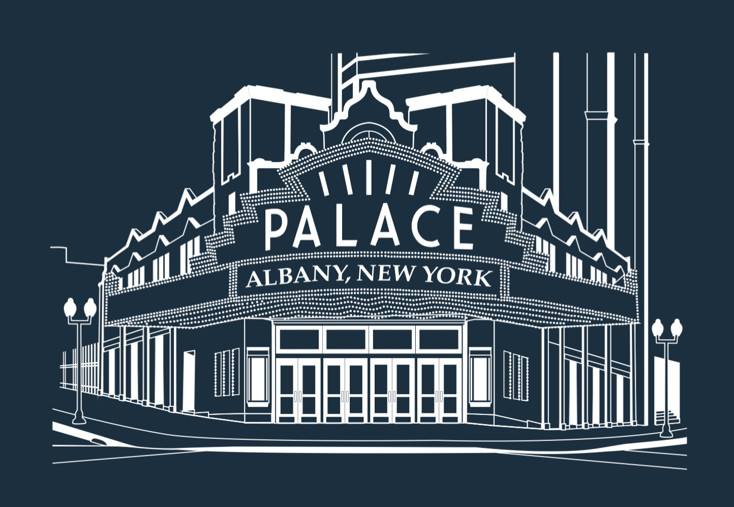 PALACE THEATRE - White Lineart on Navy Blue Poster