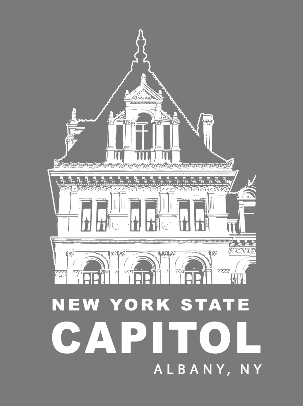 NYS CAPITOL TOWER – White Lineart on Gray Poster