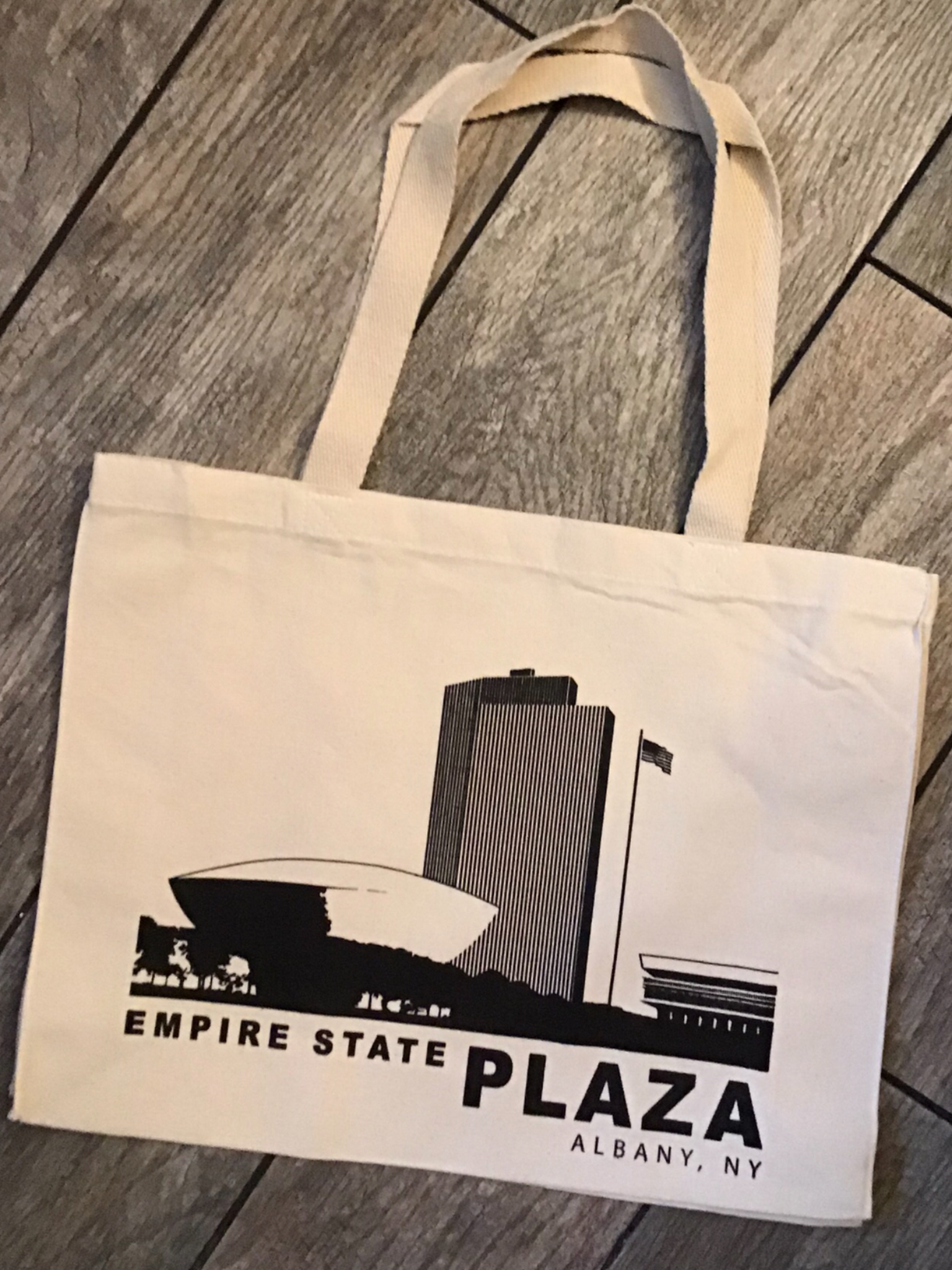 EMPIRE STATE PLAZA - Black Lineart on Natural Canvas Tote Bag