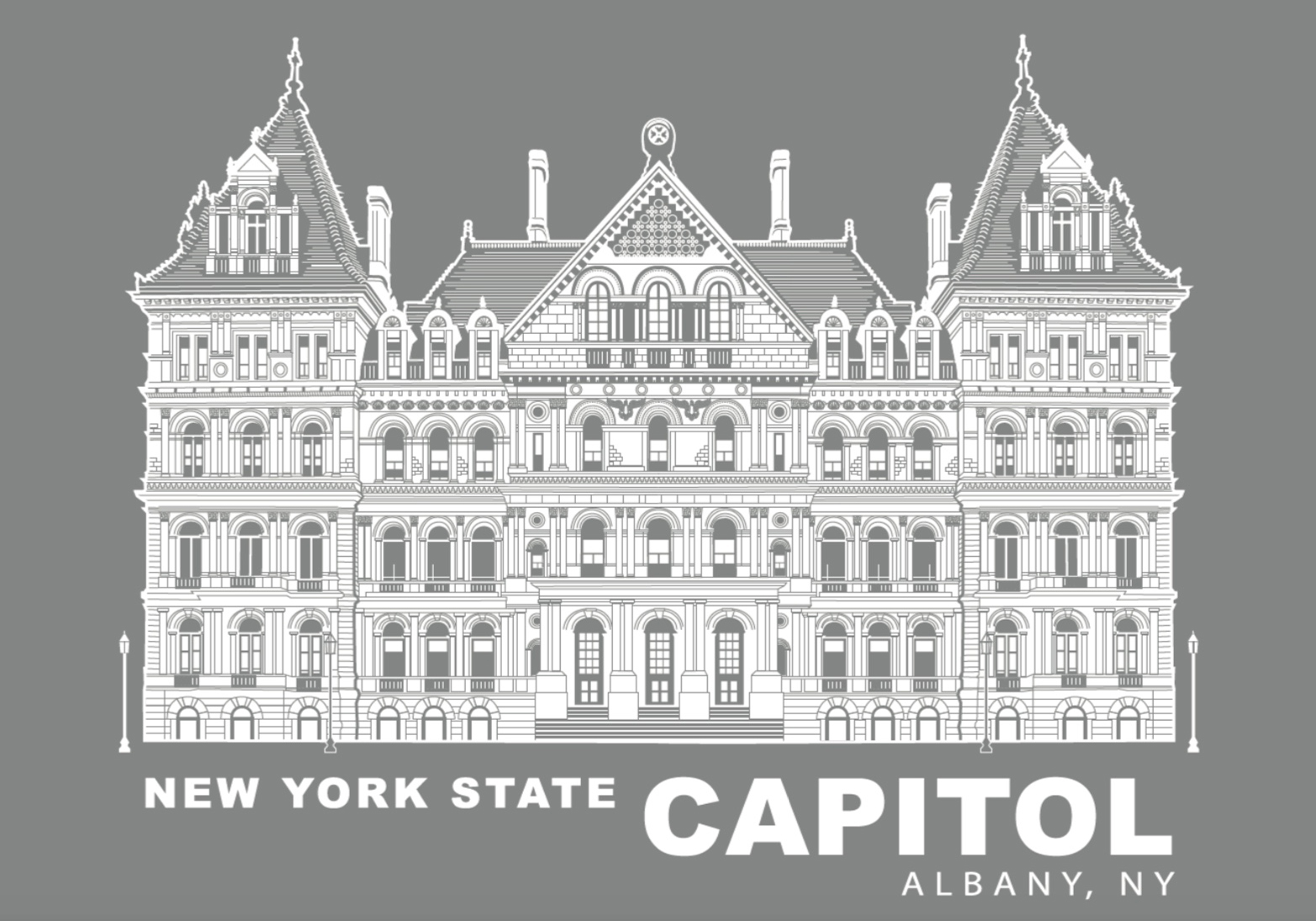 NYS CAPITOL – White Lineart (Full View) on Gray Poster