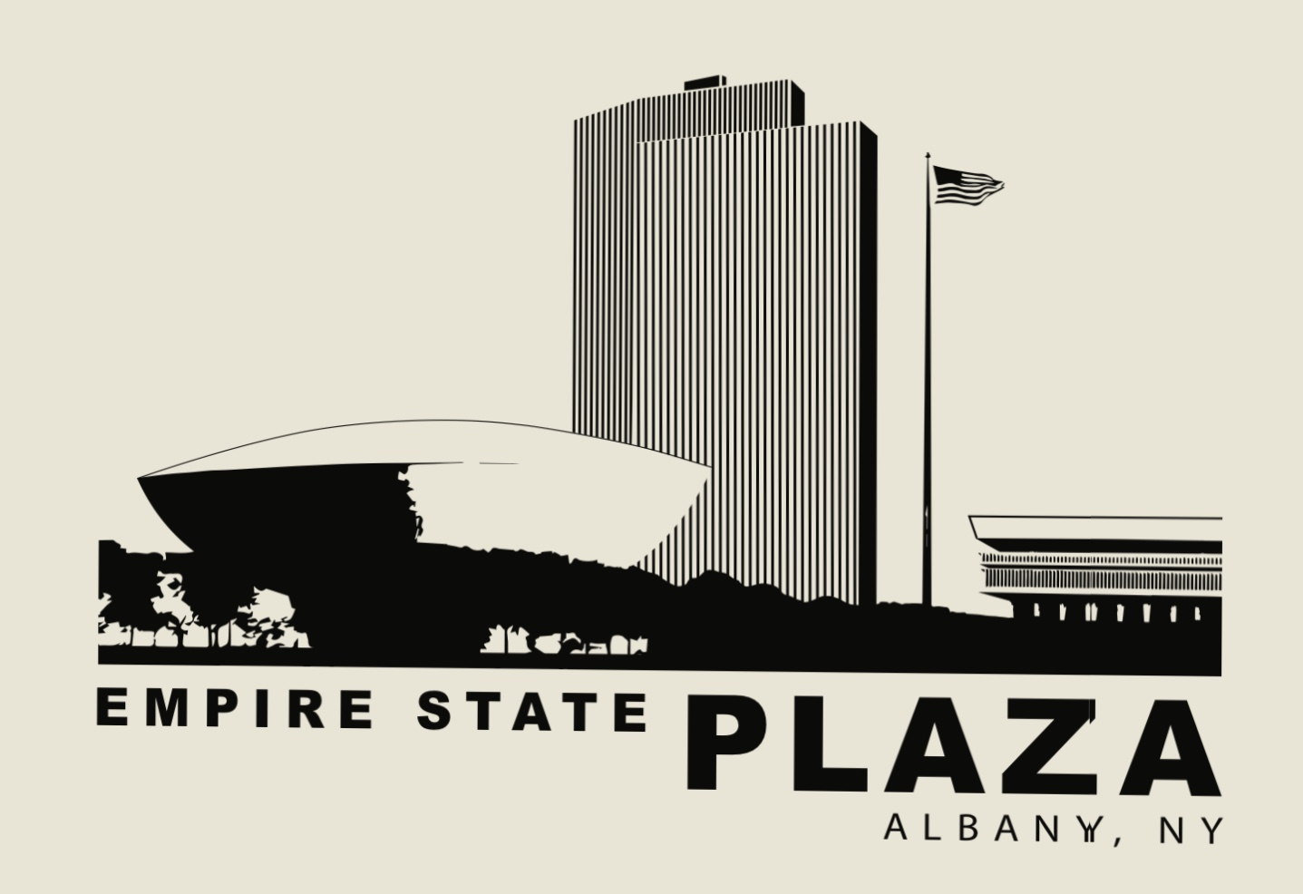 EMPIRE STATE PLAZA – Black Lineart on Beige Poster