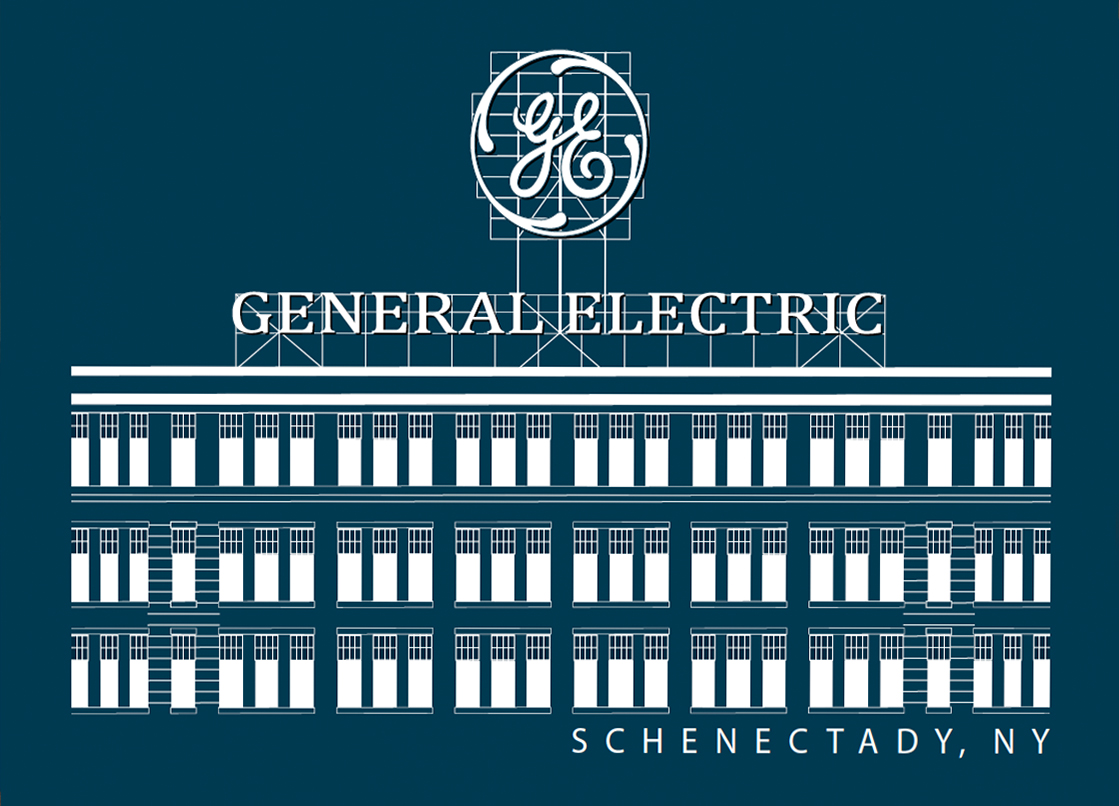 GENERAL ELECTRIC - White Lineart on Navy Blue Poster