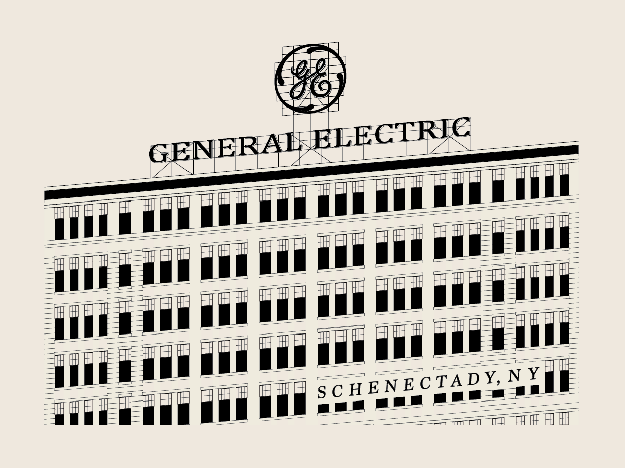 GENERAL ELECTRIC - Black Lineart on Beige Poster