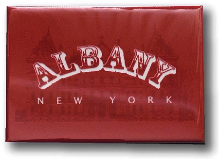 Magnet – Albany, NY - Red & White Design (HORIZONTAL) – 3