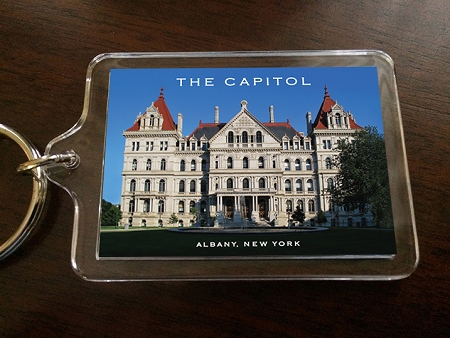 Acrylic Keychain – THE CAPITOL West View – Albany, NY – 2.375