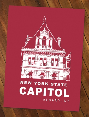 NYS CAPITOL TOWER – White Lineart on Red Poster