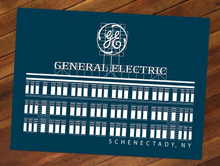 GENERAL ELECTRIC – White Lineart on Navy Blue Poster