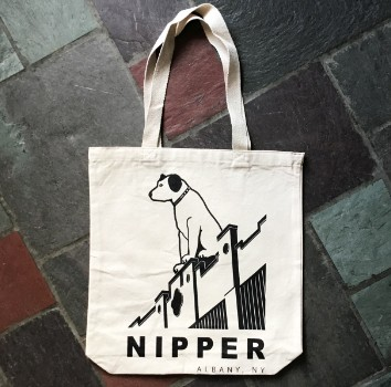NIPPER - Black Lineart on Natural Canvas Tote Bag
