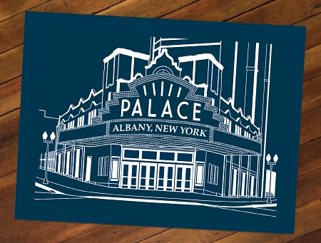 PALACE THEATRE – White Lineart on Navy Blue Poster