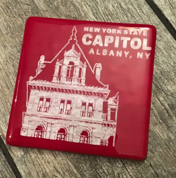 NYS CAPITOL TOWER – White on Red