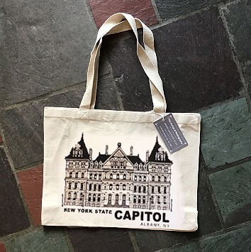 NYS CAPITOL – Black Lineart (Full View) on Natural Canvas Tote Bag