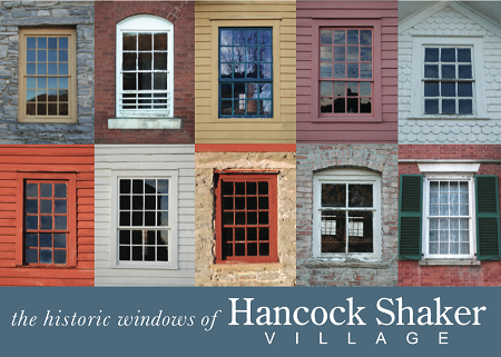 5' x 7' Greeting Card - Historic Hancock Shaker Village Windows (HORIZONTAL)