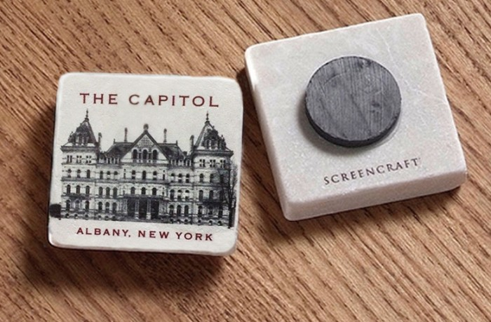 "2"" Marble Magnet – the lanterns of THE CAPITOL Vintage (B&W) – Albany, NY"